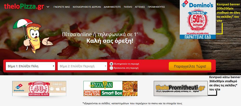 Χώρος προβολής στο site theloPizza.gr ( περιοχή 1 )
