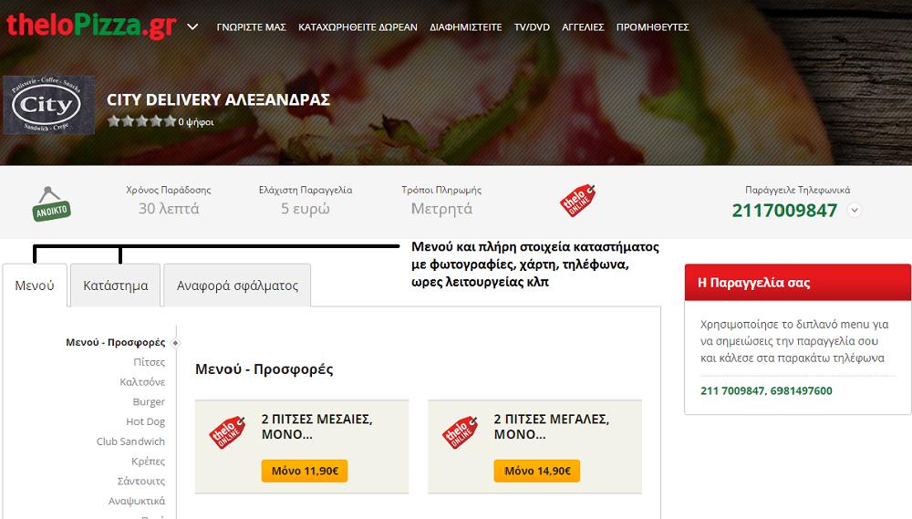 Χώρος προβολής στο site theloPizza.gr ( περιοχή 3 )